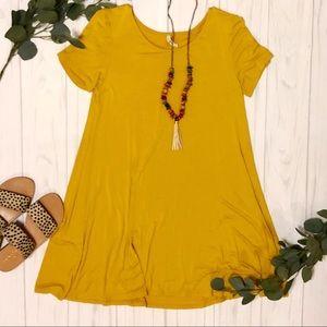 Short sleeve casual plain T-shirt dress gold